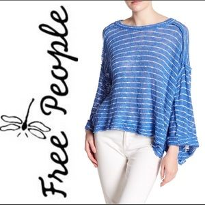 Free People 🔥 Oversized Blue & White Top
